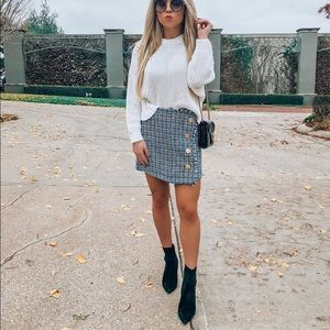 NWT Milk & Honey Tweed Plaid Mini Skirt